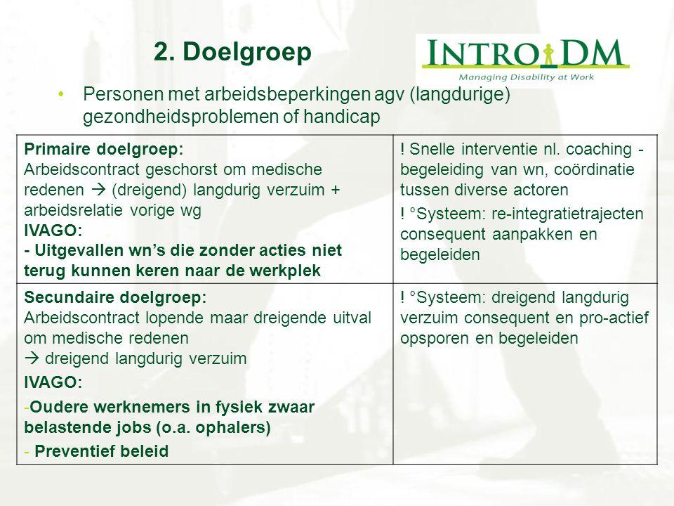 2. Doelgroep Personen met arbeidsbeperkingen agv (langdurige) gezondheidsproblemen of handicap. Primaire doelgroep: