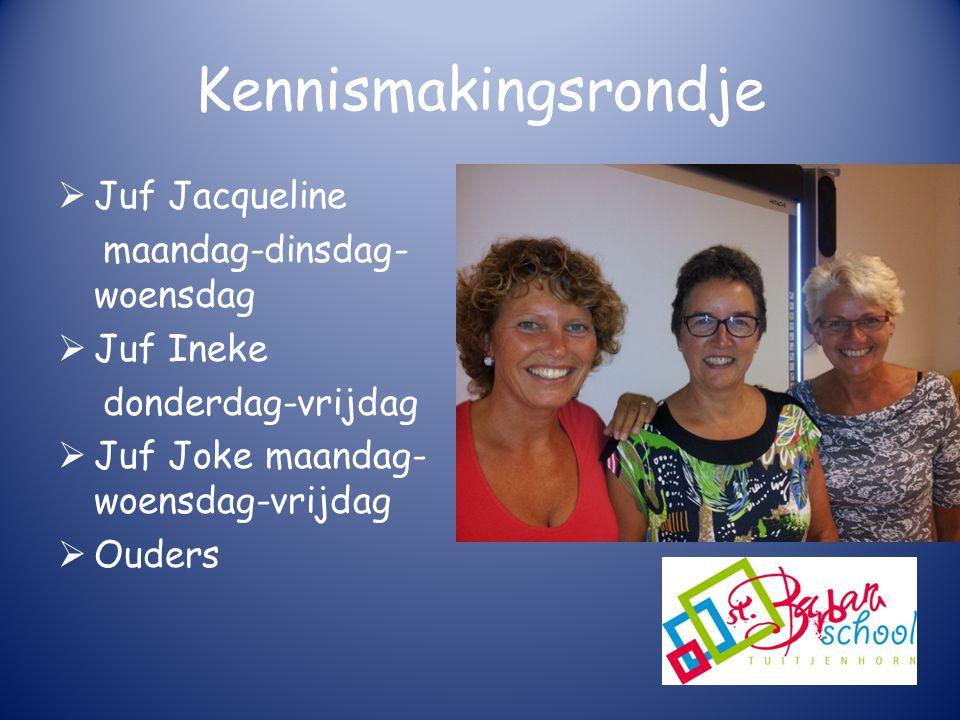 Kennismakingsrondje Juf Jacqueline maandag-dinsdag-woensdag Juf Ineke