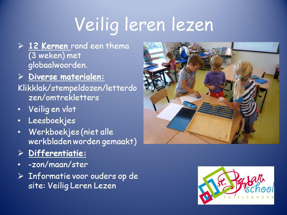 Veilig leren lezen 12 Kernen rond een thema (3 weken) met globaalwoorden. Diverse materialen: Klikklak/stempeldozen/letterdozen/omtrekletters.