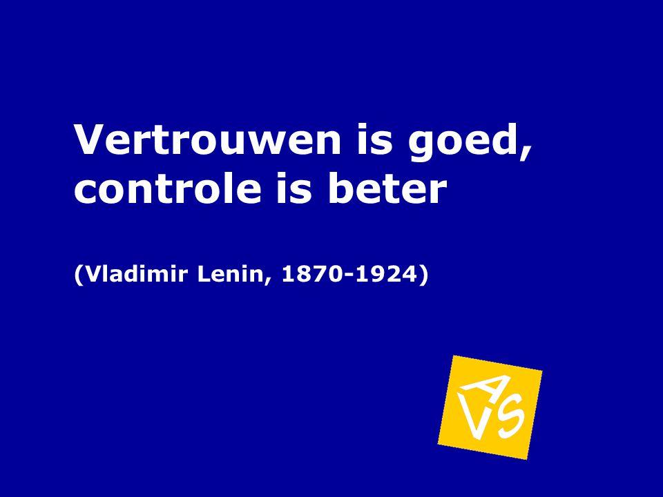 Vertrouwen is goed, controle is beter (Vladimir Lenin, 1870-1924)