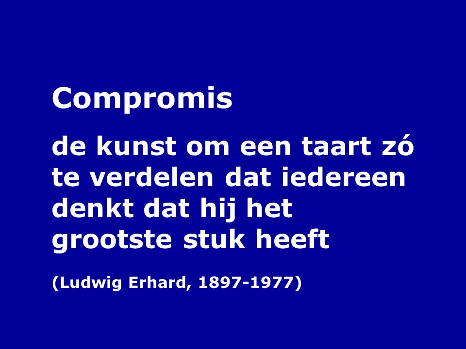 Compromis de kunst om een taart zó te verdelen dat iedereen denkt dat hij het grootste stuk heeft (Ludwig Erhard, 1897-1977)