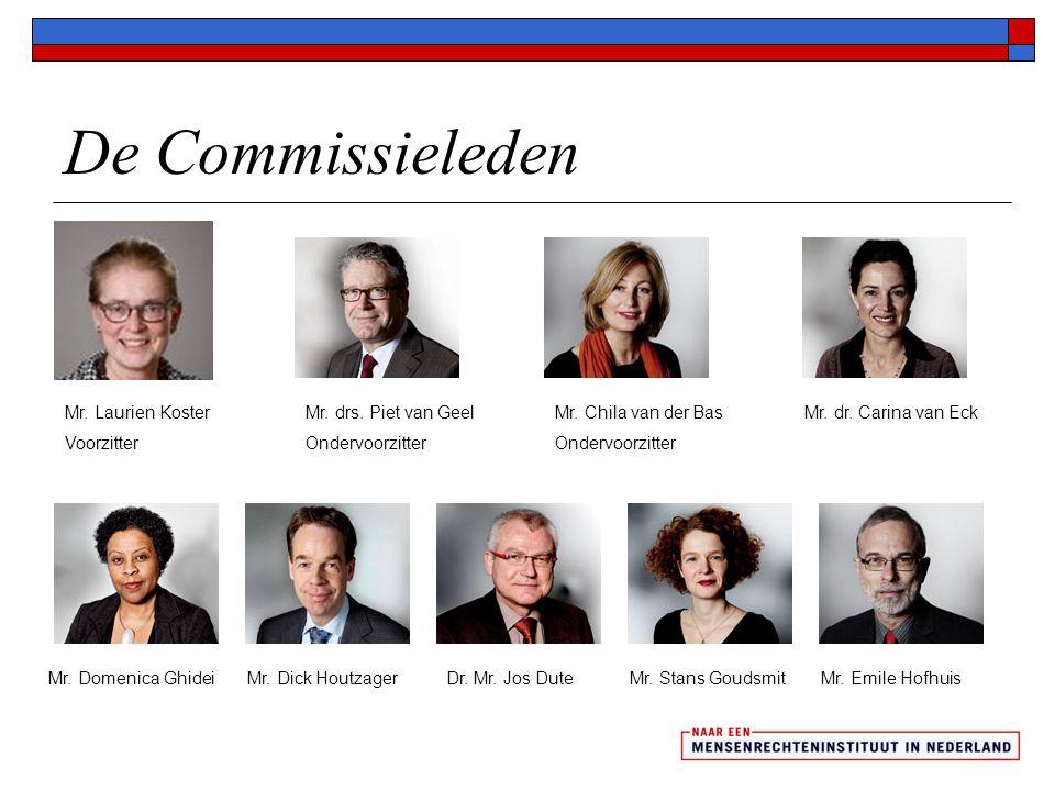 De Commissieleden Mr. Laurien Koster Voorzitter Mr. drs. Piet van Geel