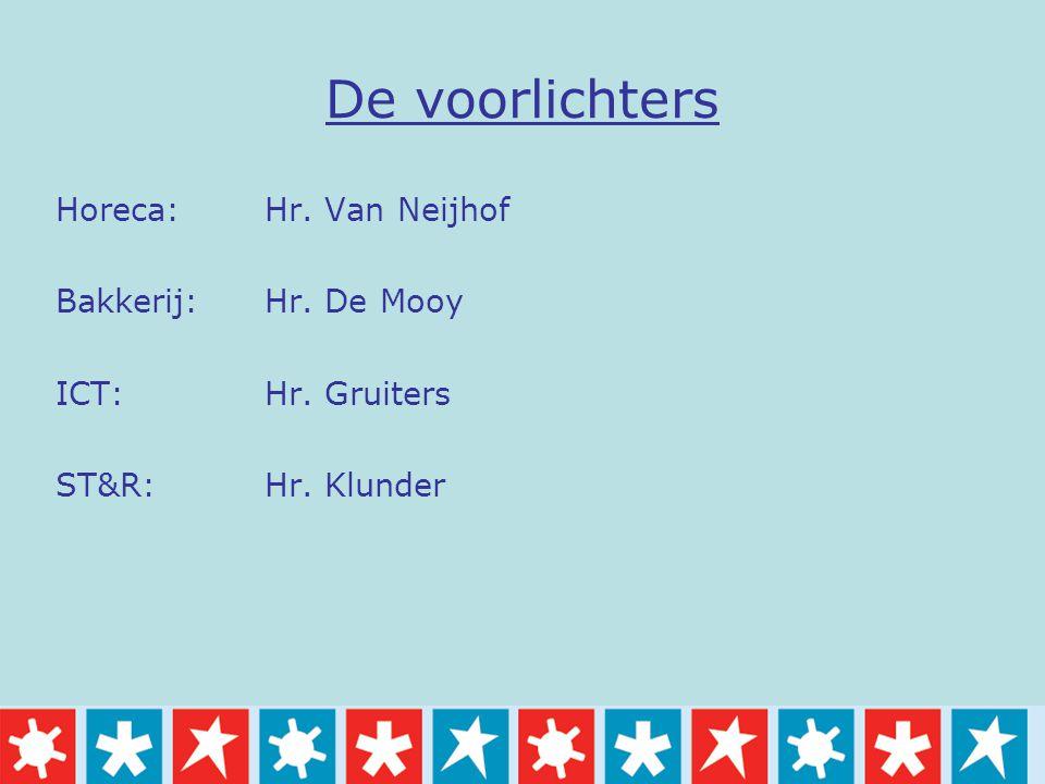 De voorlichters Horeca: Hr. Van Neijhof Bakkerij: Hr. De Mooy