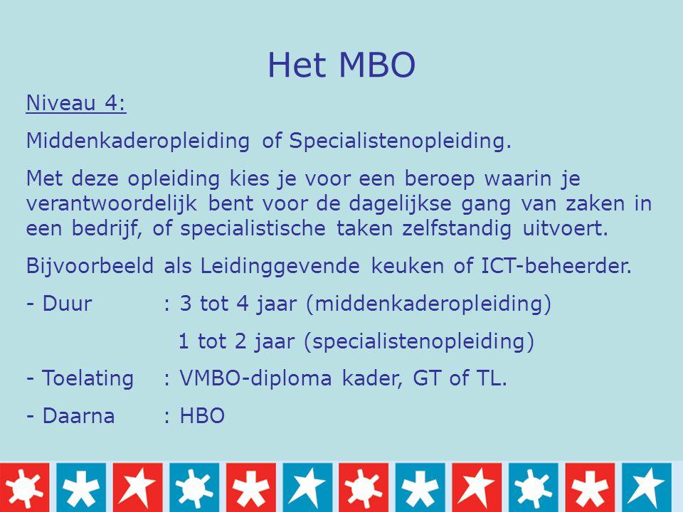 Het MBO Niveau 4: Middenkaderopleiding of Specialistenopleiding.