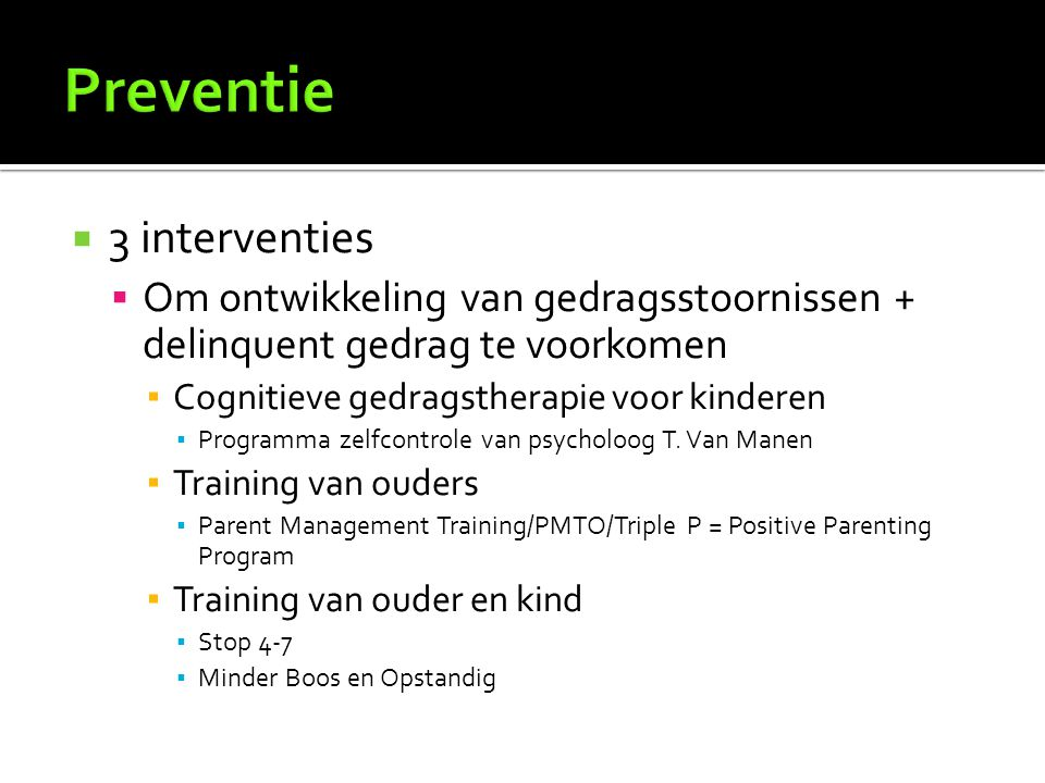 Preventie 3 interventies
