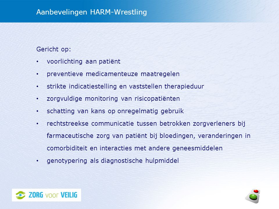 Aanbevelingen HARM-Wrestling