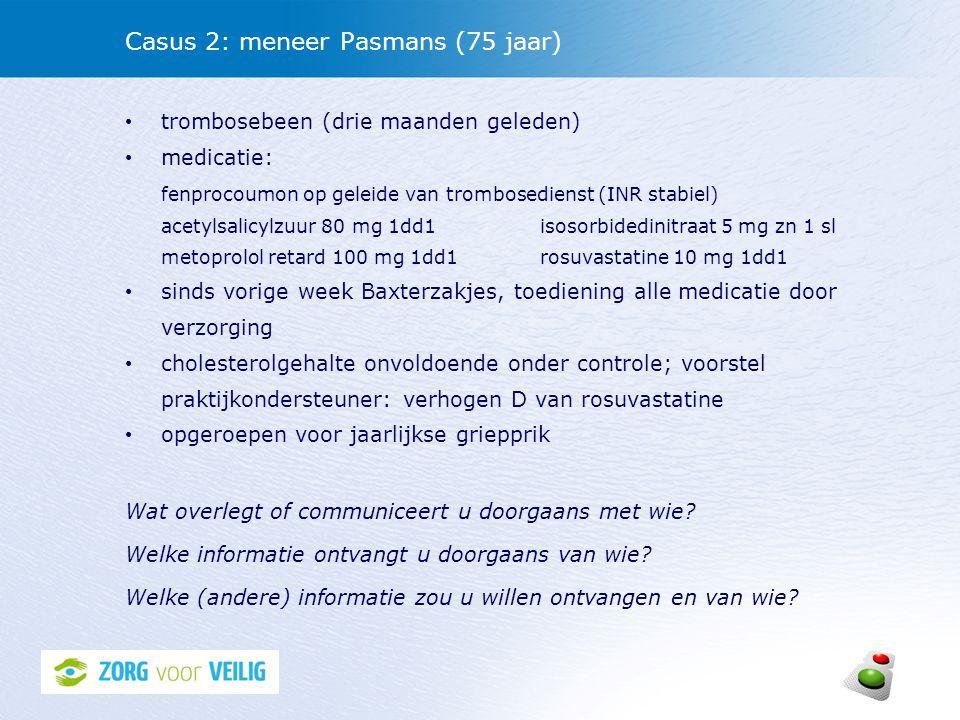 Casus 2: meneer Pasmans (75 jaar)
