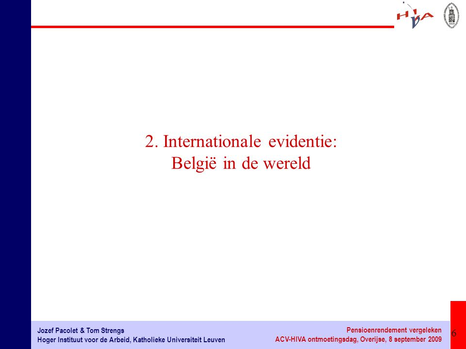 2. Internationale evidentie: België in de wereld