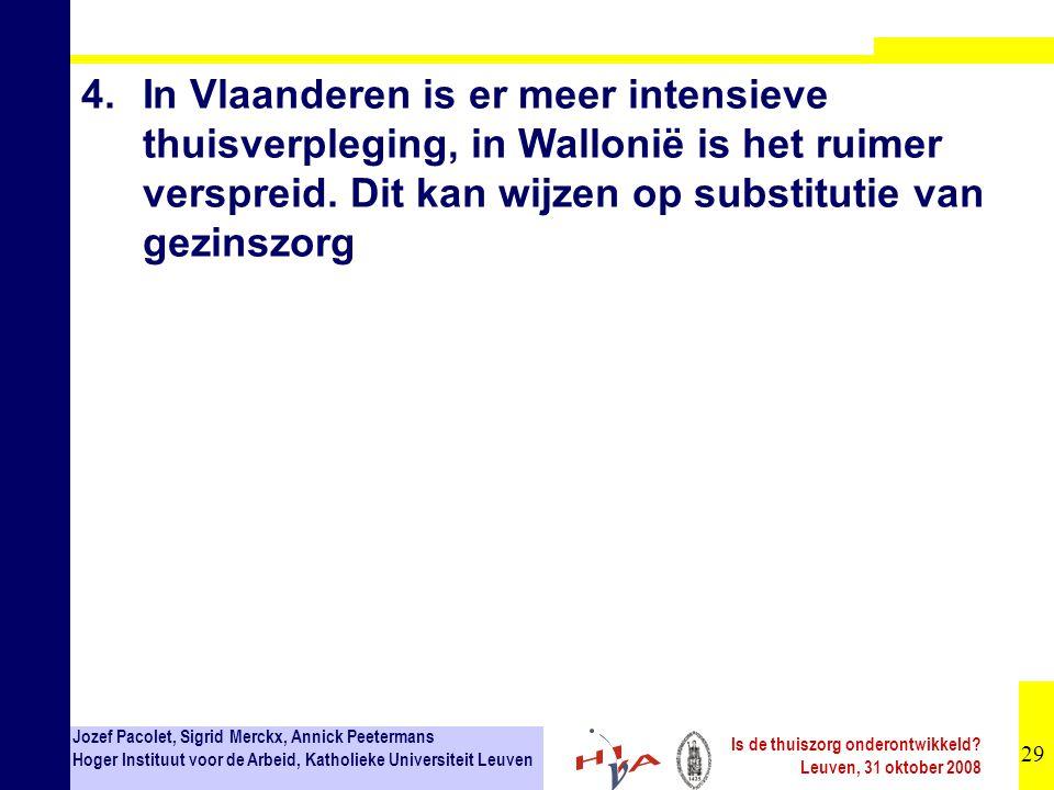 4. In Vlaanderen is er meer intensieve thuisverpleging, in Wallonië is het ruimer verspreid.