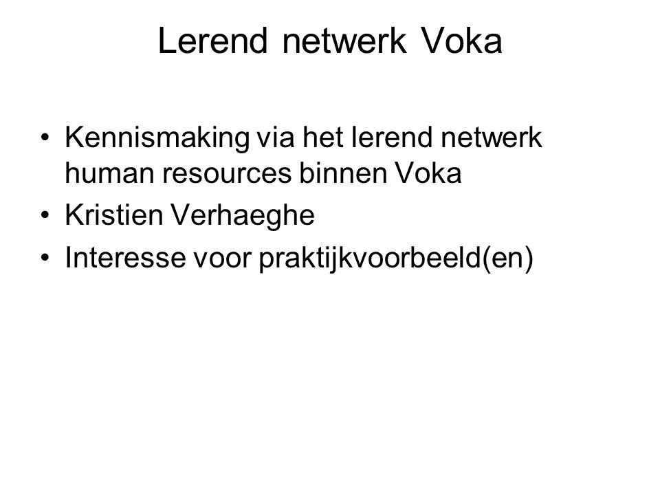 Lerend netwerk Voka Kennismaking via het lerend netwerk human resources binnen Voka. Kristien Verhaeghe.