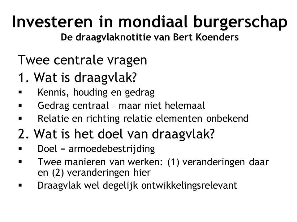 Investeren in mondiaal burgerschap De draagvlaknotitie van Bert Koenders