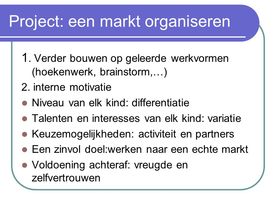 Project: een markt organiseren