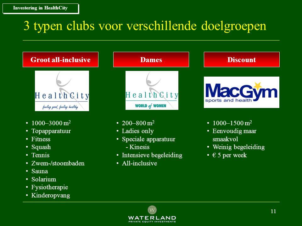 3 typen clubs voor verschillende doelgroepen