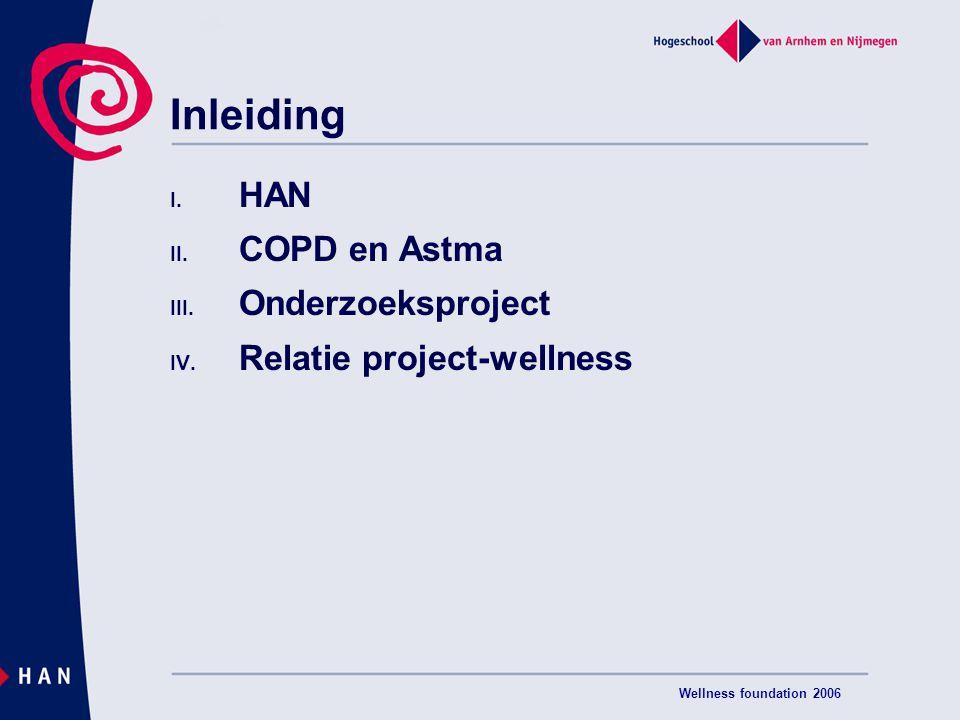 Inleiding HAN COPD en Astma Onderzoeksproject Relatie project-wellness