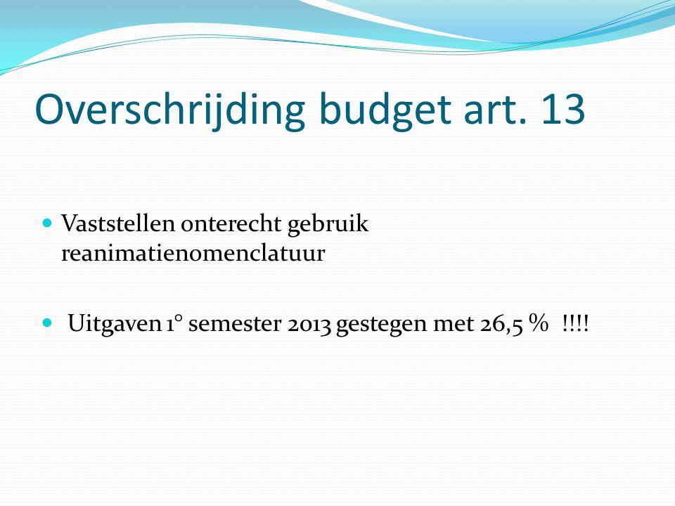 Overschrijding budget art. 13