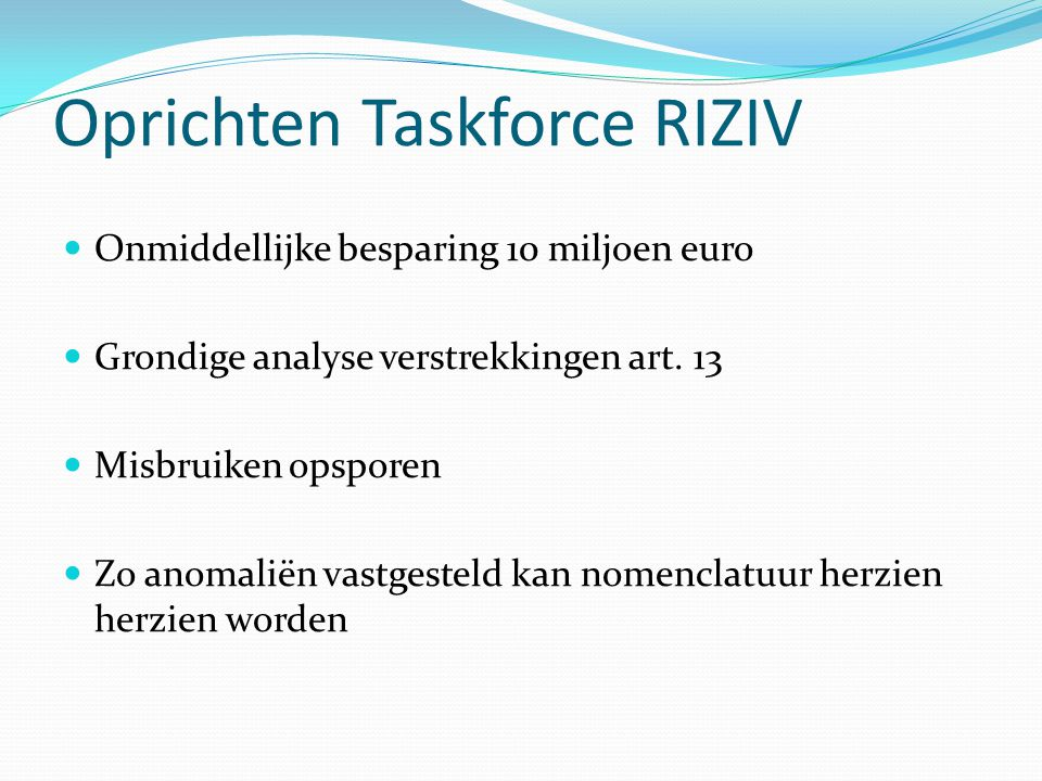 Oprichten Taskforce RIZIV