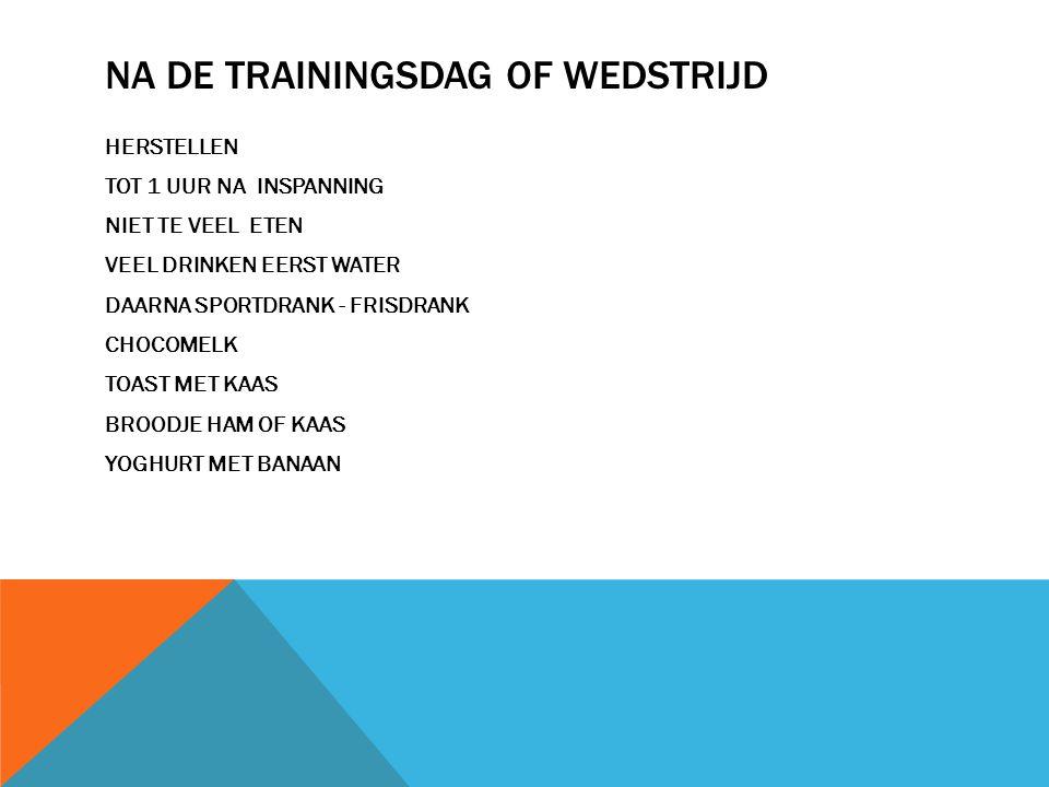 NA DE TRAININGSDAG OF WEDSTRIJD