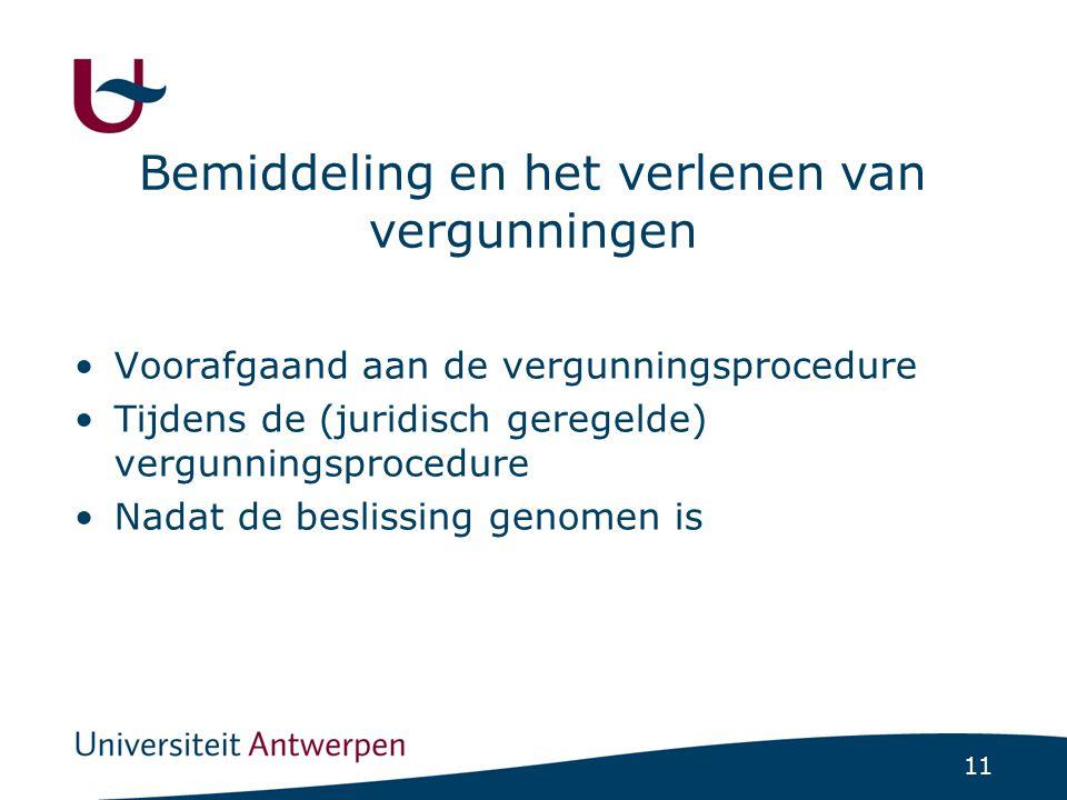 Bemiddeling en het verlenen van vergunningen