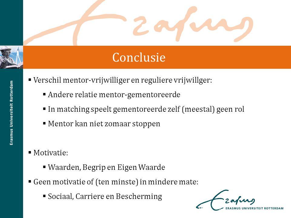 Conclusie Verschil mentor-vrijwilliger en reguliere vrijwillger: