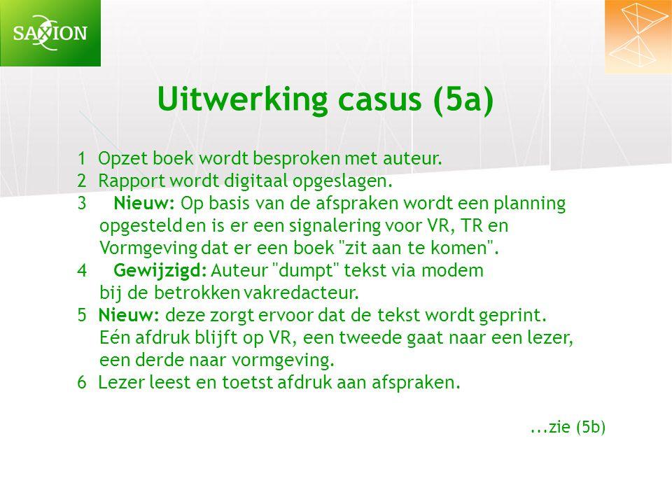 Uitwerking casus (5a) 1 Opzet boek wordt besproken met auteur.
