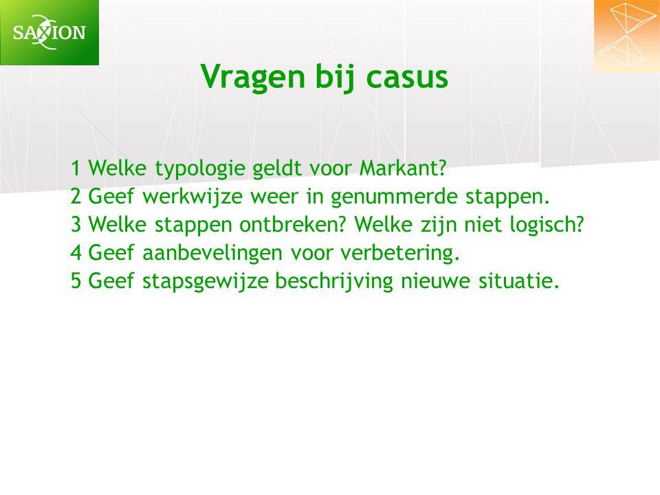 Vragen bij casus 1 Welke typologie geldt voor Markant