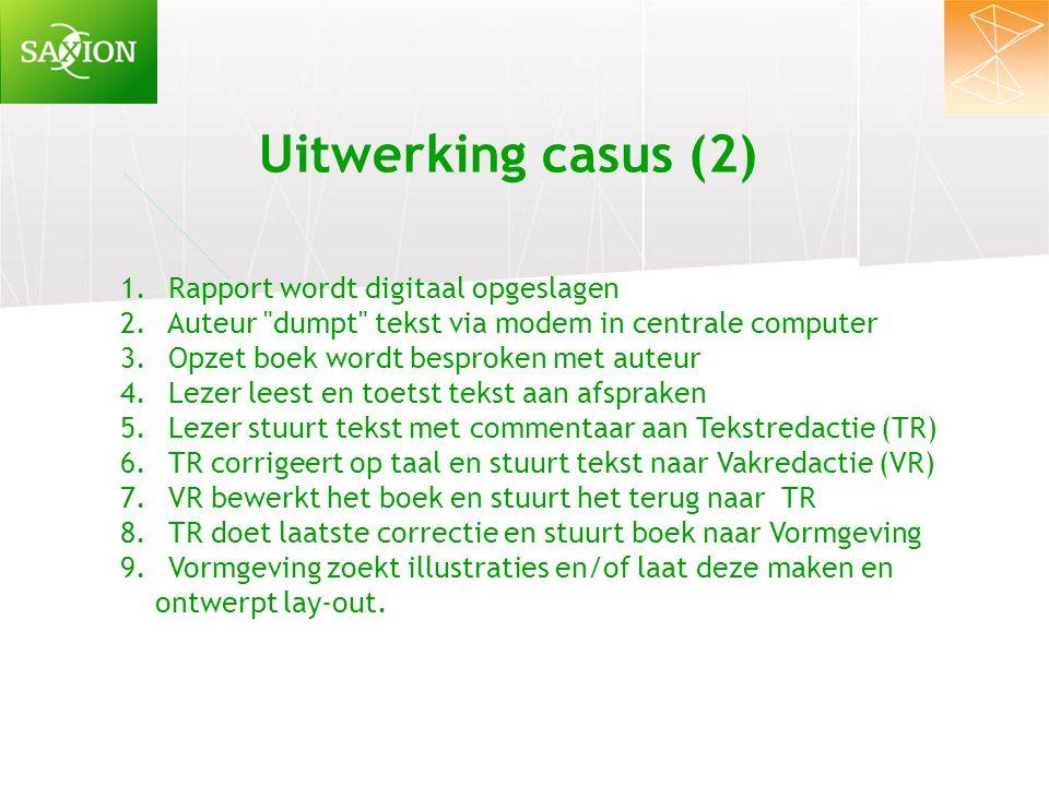 Uitwerking casus (2) Rapport wordt digitaal opgeslagen