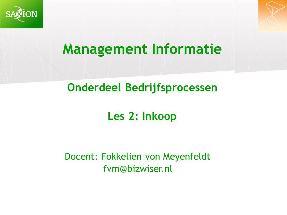 Management Informatie Onderdeel Bedrijfsprocessen