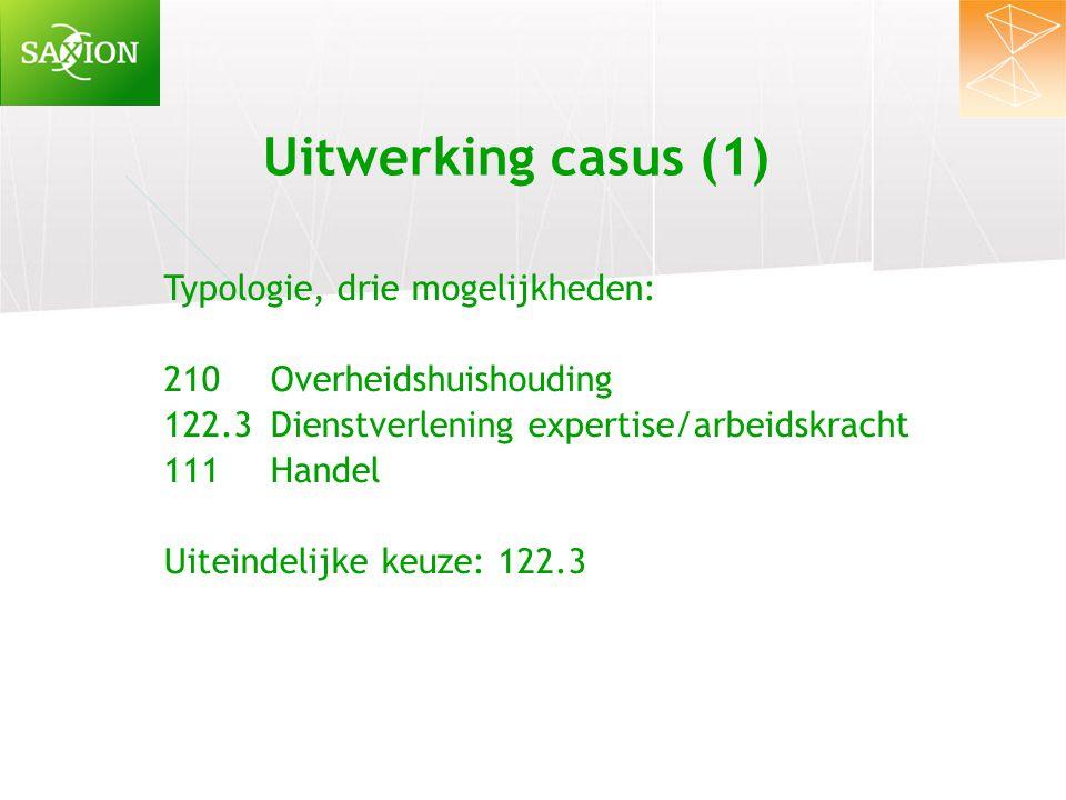 Uitwerking casus (1) Typologie, drie mogelijkheden: