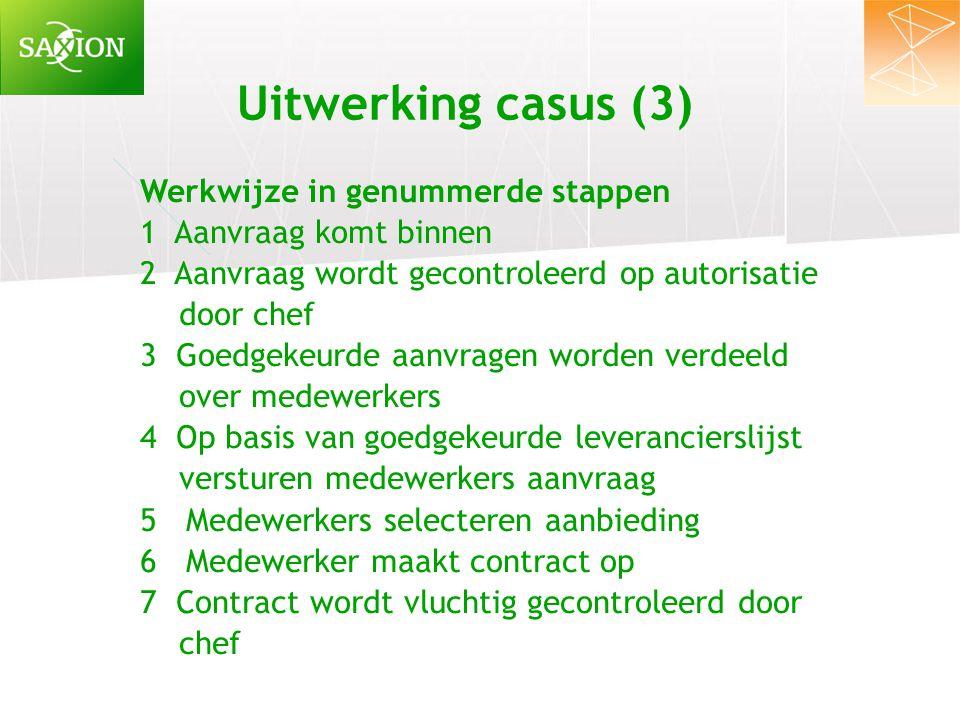 Uitwerking casus (3) Werkwijze in genummerde stappen