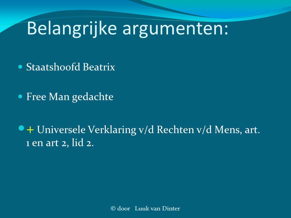 Belangrijke argumenten: