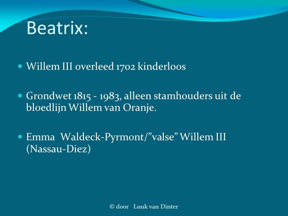 Beatrix: Willem III overleed 1702 kinderloos
