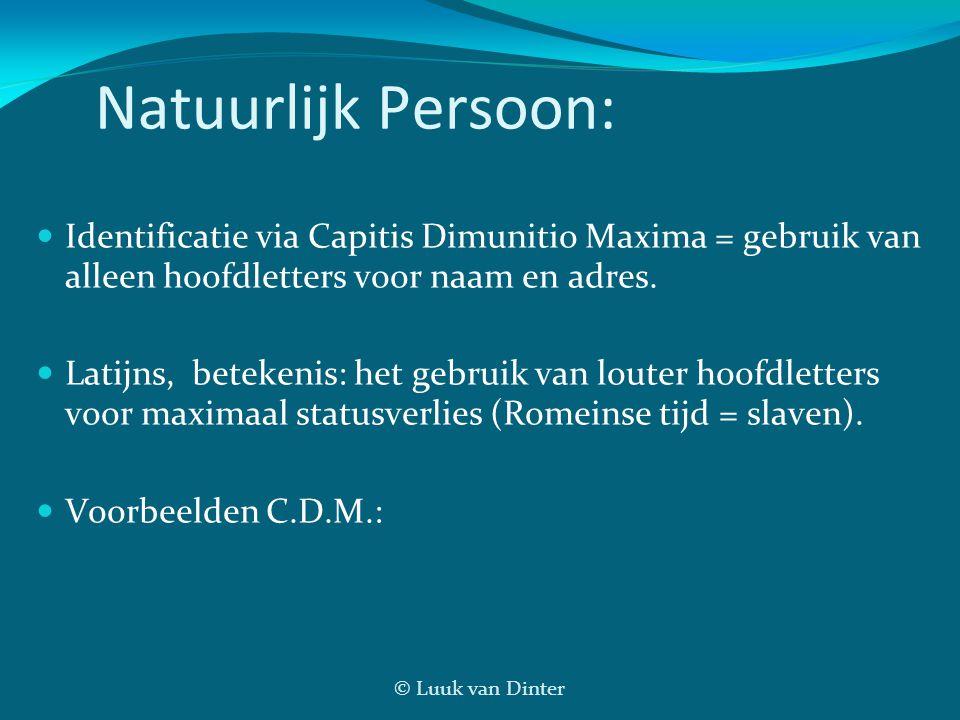 Natuurlijk Persoon: Identificatie via Capitis Dimunitio Maxima = gebruik van alleen hoofdletters voor naam en adres.