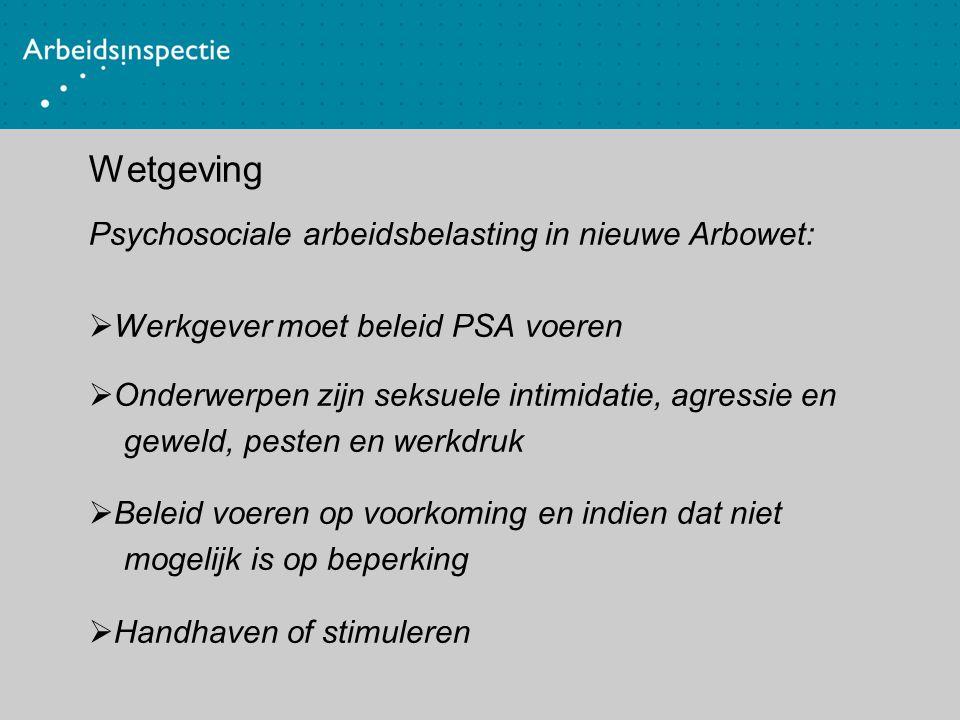 Wetgeving Psychosociale arbeidsbelasting in nieuwe Arbowet: