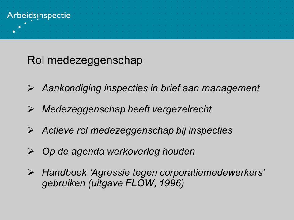 Rol medezeggenschap Aankondiging inspecties in brief aan management