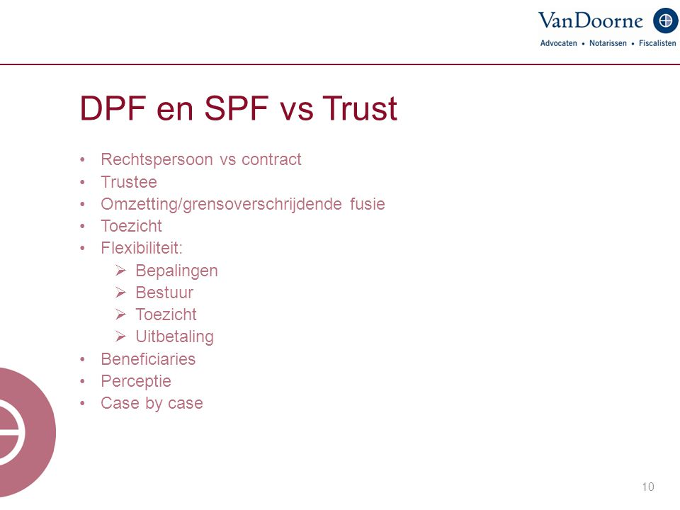 DPF en SPF vs Trust Rechtspersoon vs contract Trustee