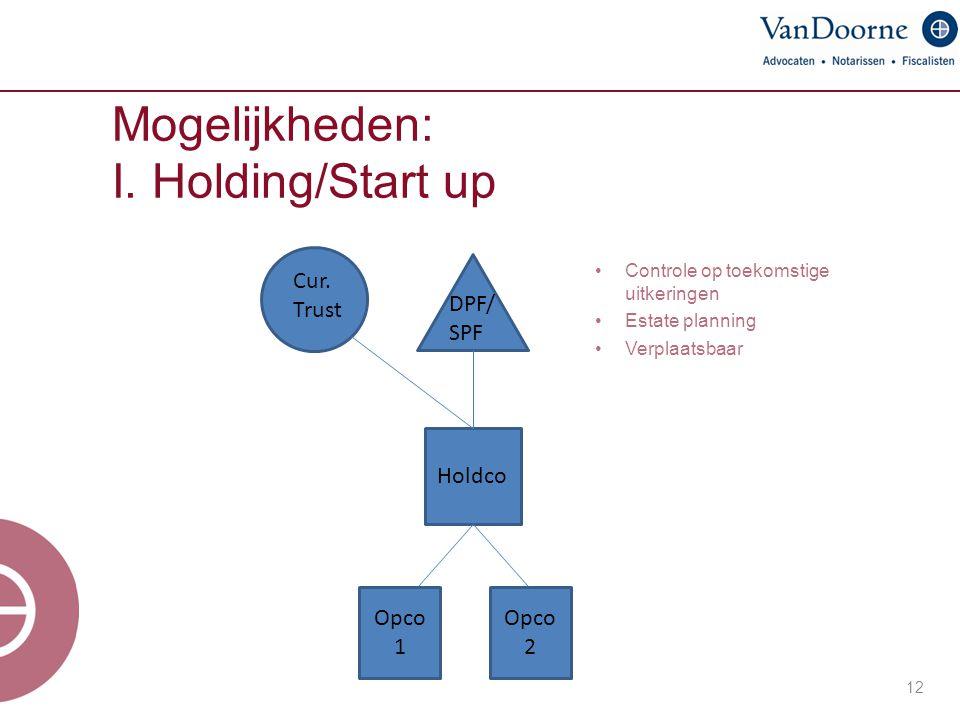 Mogelijkheden: I. Holding/Start up