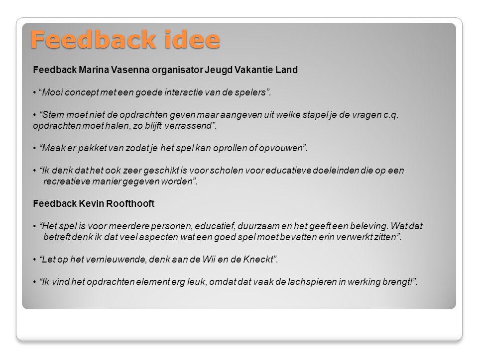 Feedback idee Feedback Marina Vasenna organisator Jeugd Vakantie Land