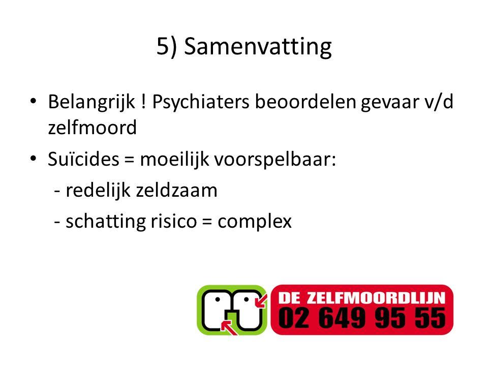 5) Samenvatting Belangrijk ! Psychiaters beoordelen gevaar v/d zelfmoord. Suïcides = moeilijk voorspelbaar: