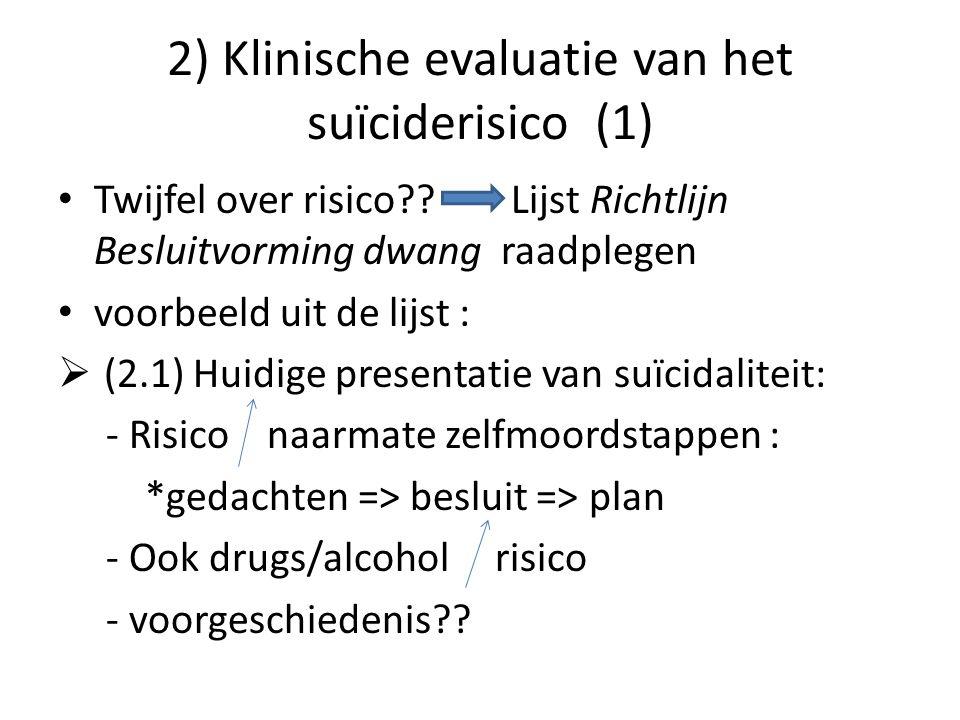 2) Klinische evaluatie van het suïciderisico (1)