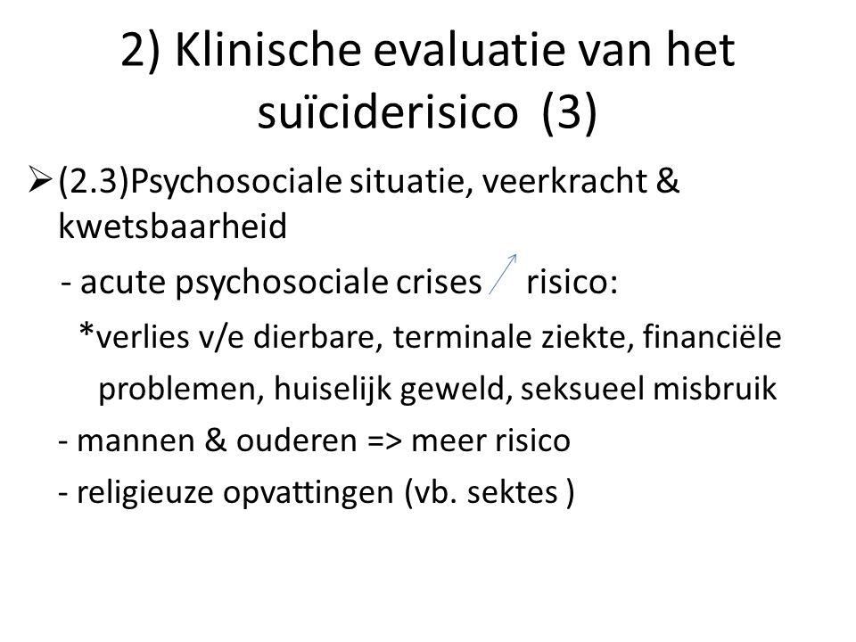 2) Klinische evaluatie van het suïciderisico (3)