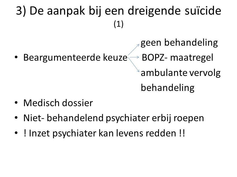 3) De aanpak bij een dreigende suïcide (1)