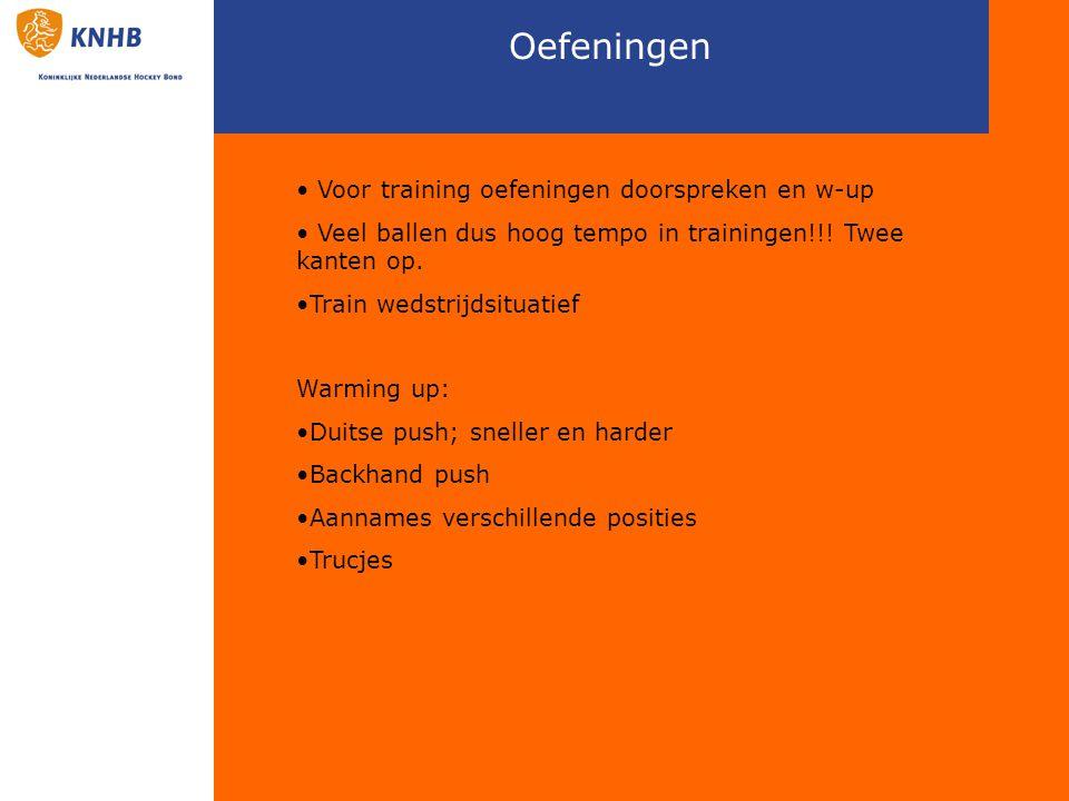 Oefeningen Voor training oefeningen doorspreken en w-up