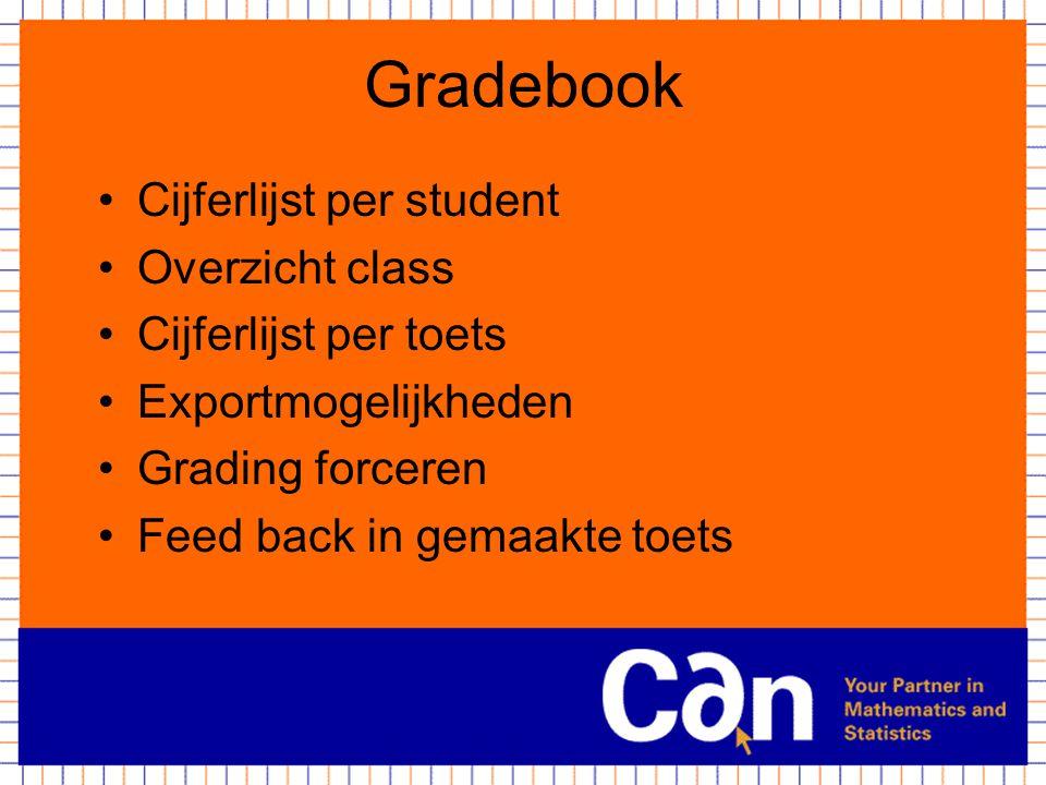 Gradebook Cijferlijst per student Overzicht class