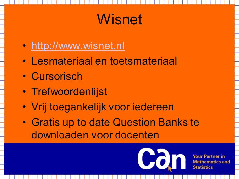 Wisnet http://www.wisnet.nl Lesmateriaal en toetsmateriaal Cursorisch