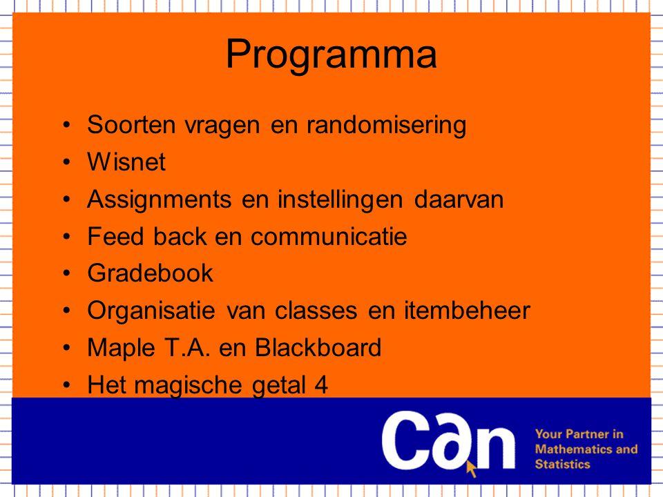Programma Soorten vragen en randomisering Wisnet