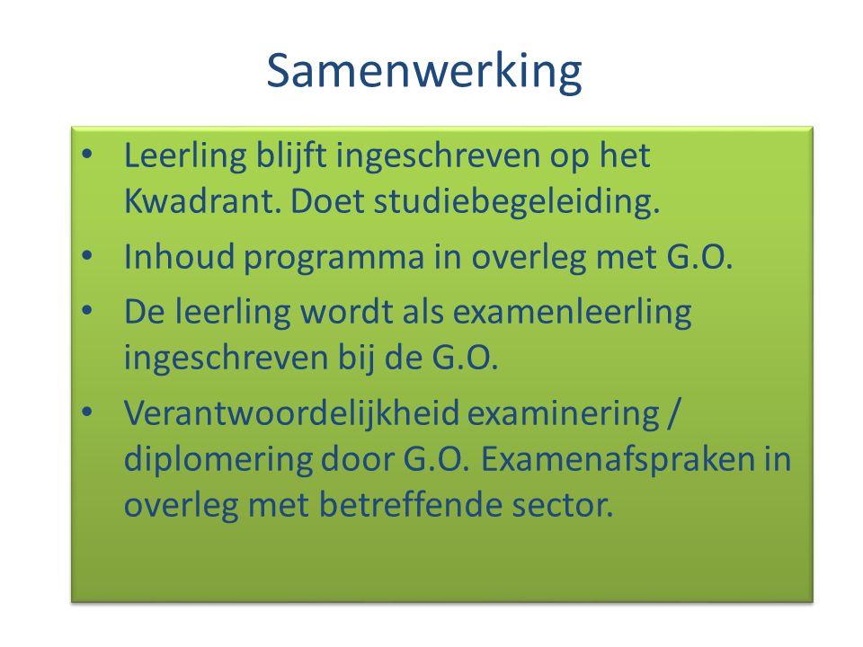Samenwerking Leerling blijft ingeschreven op het Kwadrant. Doet studiebegeleiding. Inhoud programma in overleg met G.O.