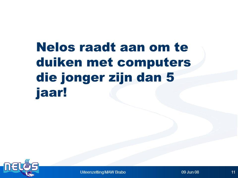 Nelos raadt aan om te duiken met computers die jonger zijn dan 5 jaar!