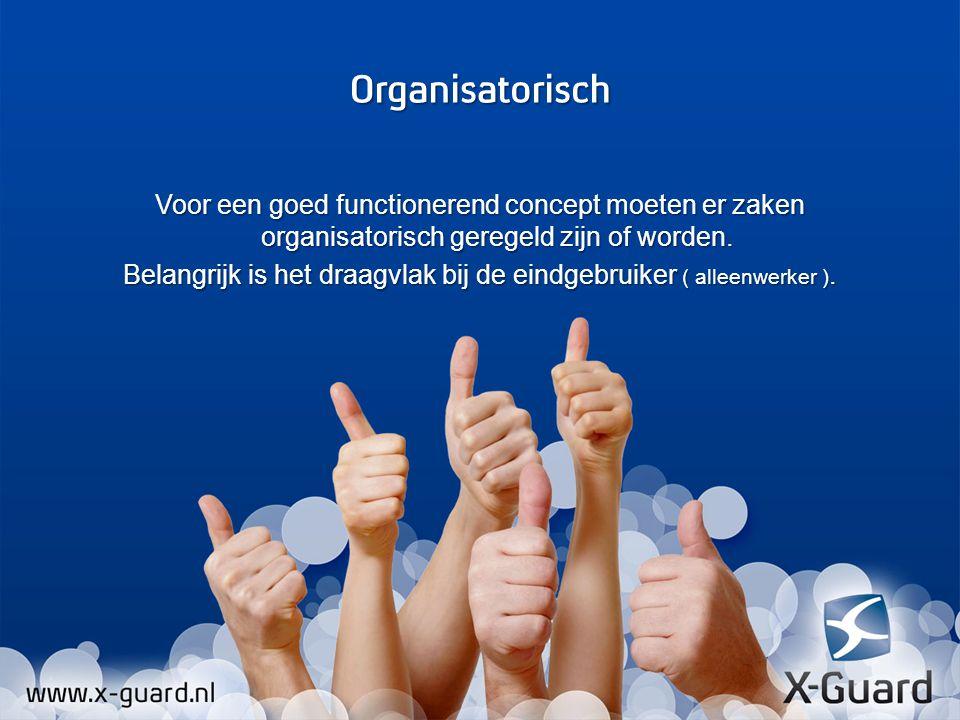 Voor een goed functionerend concept moeten er zaken organisatorisch geregeld zijn of worden. Belangrijk is het draagvlak bij de eindgebruiker ( alleenwerker ).