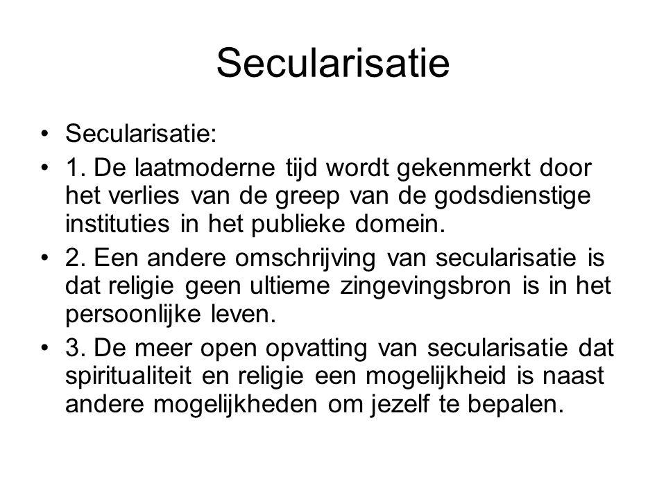 Secularisatie Secularisatie: