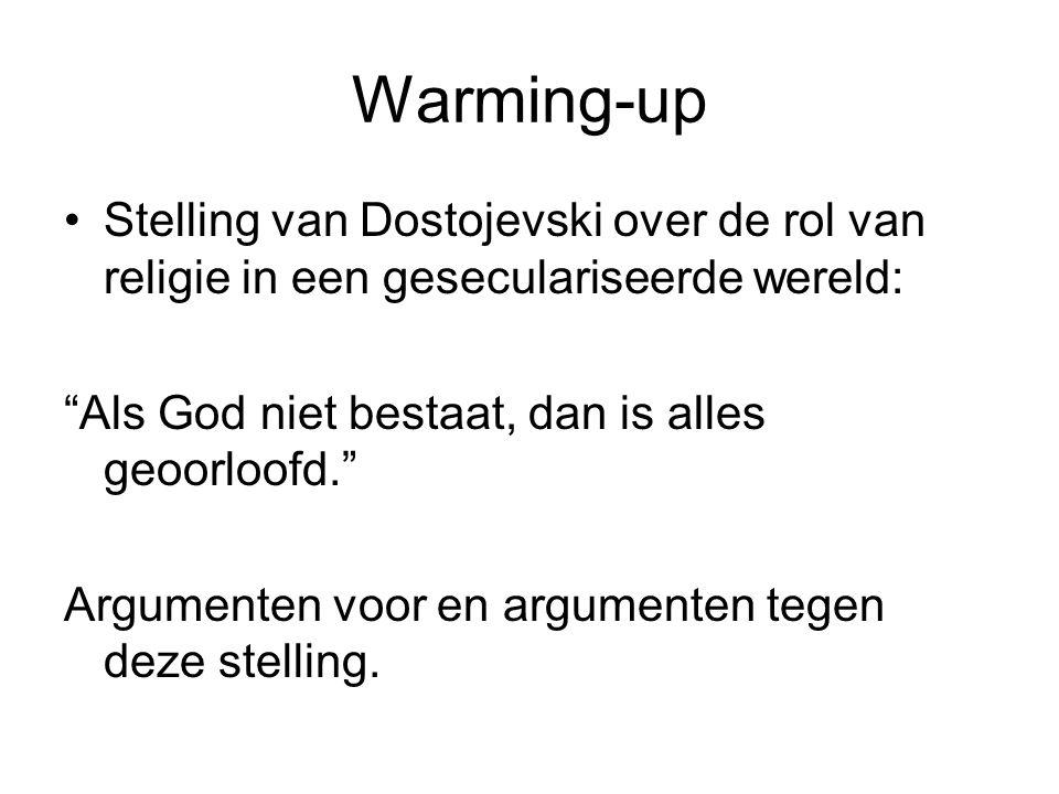 Warming-up Stelling van Dostojevski over de rol van religie in een geseculariseerde wereld: Als God niet bestaat, dan is alles geoorloofd.